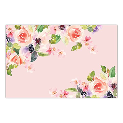 (DB Party Studio Paper Placemats 25 Pack Disposable Place Mats Engagement Woman's 30th 50th Birthday Parties Pink Watercolor Floral Easy Cleanup Decor Brunch Dinner Thick Paper Place Setting 17