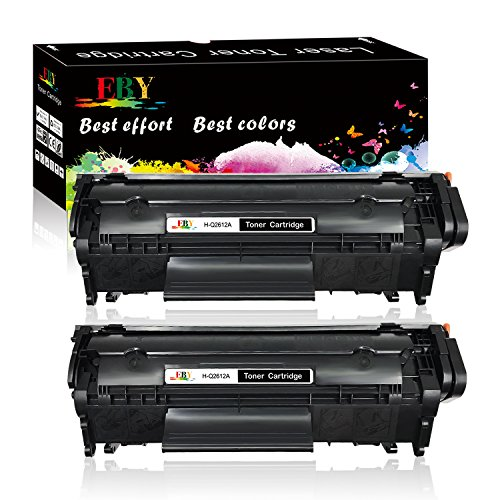 EBY 2 Black New Replacement Q2612A 12A Compatible Laserjet 1010 1012 1018 1020 1022 1022n 1022nw 3015 3020 3030 3050 3052 3055 M1319F Printers