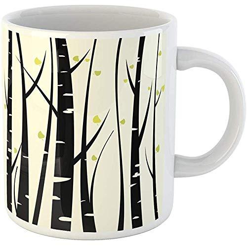 11oz Coffee Mugs Tea Cups Gifts Orange Tree Birch Three for You Aspen Grove Branch Leaf Ceramic Coffee Mugs Tea Cup Souvenir