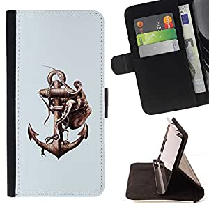 Momo Phone Case / Flip Funda de Cuero Case Cover - Pulpo & Anchor - Samsung Galaxy S6
