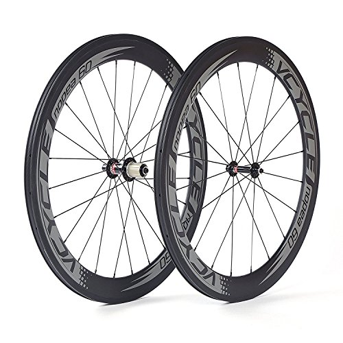 VCYCLE Nopea 700C Road Bike Carbon Wheel Set Clincher 60mm Only 1595g for Shimano or Sram 8/9/10/11 Speed