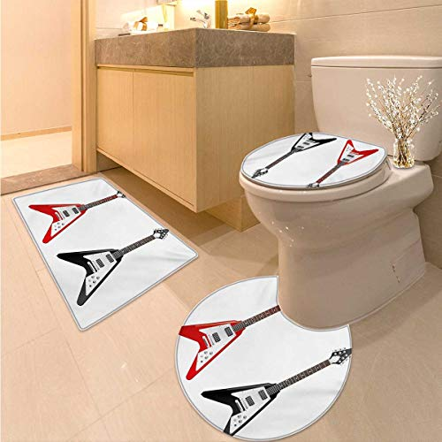 Anhuthree Guitar Toilet Floor mat Set Musical Instrument with V Shaped Design Famous Rock and Roll Strings Creativity 3 Piece Toilet Cover Set Multicolor ()