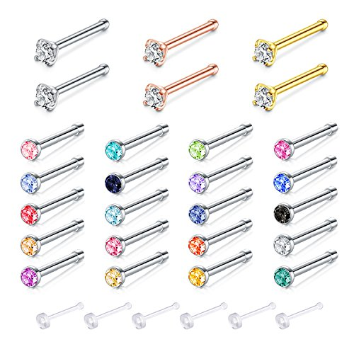 Zolure 316L Stainless Steel Nose Bone Stud Set with Crystal 20 Gauge Piercing Jewellery 26PCS Mix ()