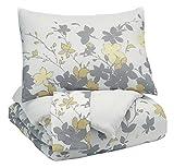 Signature Design by Ashley Q388003K Maureen 3 Piece King Comforter Set, Gray/Yellow