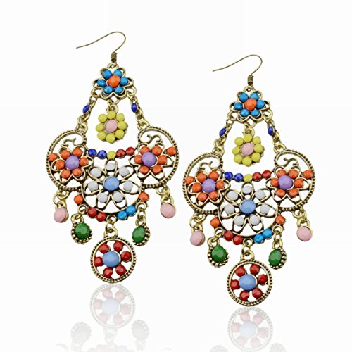 bohemia-multi-color-retro-copper-flower-acrylic-beads-fringe-cluster-earrings