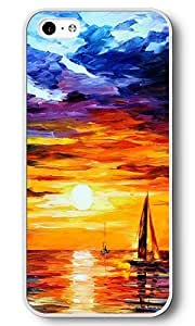 iPhone 5C Case, 5C Cases - Sailboat Sunset White Plastic Hard Bumper Case Cover for iPhone 5C