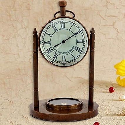 Gift Shop Antique Clock n Compass Pure Brass Handicraft 105