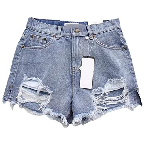 Top FLCH+YIGE Women's Solid Ripped Hole High Wast Jean Fashional Shorts 1 XS