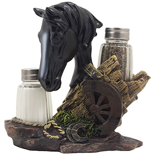 Black Stallion Salt and Pepper Shaker Set with Holder Display Stand Horse Figurine Featuring an Old-fashioned Wagon Wheel on Wood Fence, Horseshoes and Lasso Accents for Rustic Country Western Kitchen (Wood N Horse Ranch)