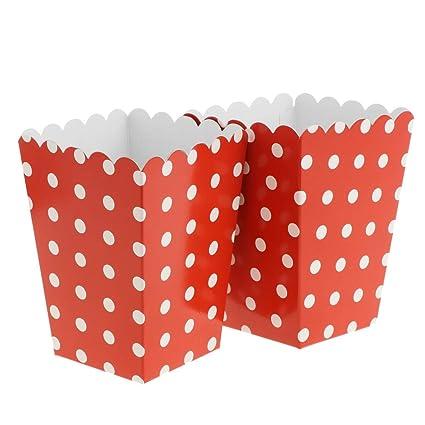 FLAMEER 12 Pcs Cajas para Palomitas de Maíz Puntos Bolsos de Fiesta para Obsequio de Caramelos - rojo
