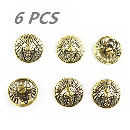 Leathercraft Conchos Solid Brass Skull Stud Punk Screw Back Decor ()
