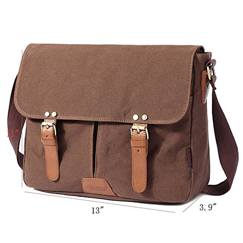 FLYMEI Canvas Messenger Bag 14Inch Laptop Shoulder Bags Bookbag School Bag Crossbody Sling Bag Working Bag for Men and Women