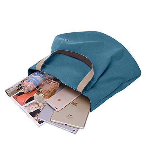 Grand bandoulière Sacs Voyage et Bleu Cabaspour sac à toile Vintage Casual Sac portés Gindoly épaule travail école main Shopping Durable à en unisexe AAqrdwP