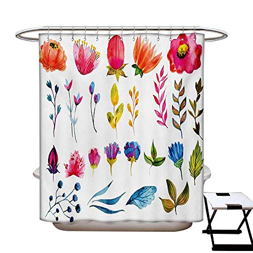 Watercolor Shower Curtain Collection Various Types Gardening Plants Artistic Flowers Spring Nature Soft Blossoms Patterned Shower Curtain W36 x L72 Multicolor