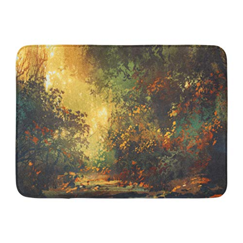 - Emvency Bath Mat Yellow Beautiful Scenery Colorful Forest Trees Flowers in Spring at Sunset Painting Acrylic Bathroom Decor Rug 16