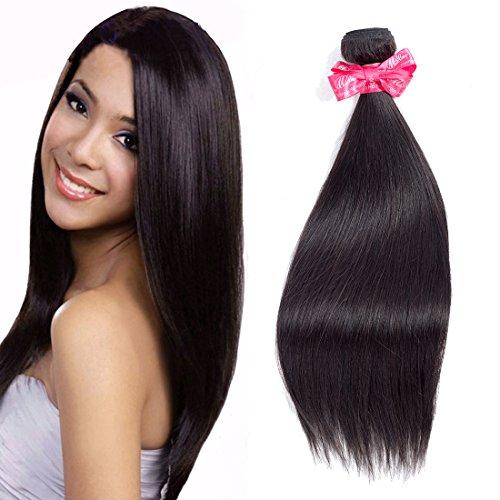 Ms Love Hair Brazilian Straight Virgin Hair 1 Bundles, Human Hair Bundles, 100% Unprocessed Hair Extensions, Natural Color 95-100g/pc (Sale Hair)