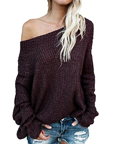 Minetom Hiver Casual Shirt Rouge Top Tricot Pullover Longue Femme T Oblique Chandail Pull Sexy Col Manche Vin Automne Tricot Sweater ZrqZfwnS
