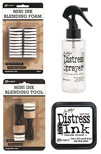 - Tim Holtz Distress Bundle of 4 Items - Sprayer, DIY Ink Pad, Blending Tools, and Blending Foams