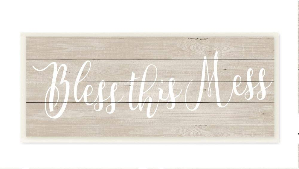 Stupell Industries Bless This Mess Family Home Inspirational Word Textured Wood Design Wall Plaque Art by Anna Quach, 7 x 0.5 x 17, Multi-Color