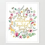 Eleville 8X10 He has made everything beautiful in its time Real Gold Foil and Floral Watercolor Art Print (Unframed) Bible Verse Print Nursery Art Home Decor Motivational Birthday Holiday Gift WG088