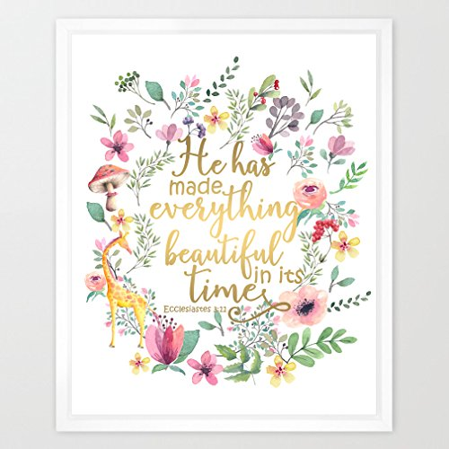 (Eleville 8X10 He has made everything beautiful in its time Real Gold Foil and Floral Watercolor Art Print (Unframed) Bible Verse Print Nursery Art Home Decor Motivational Birthday Holiday Gift WG088)