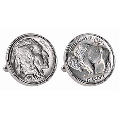 American Coin Treasures Buffalo Nickel Silvertone Bezel Coin Cuff Links