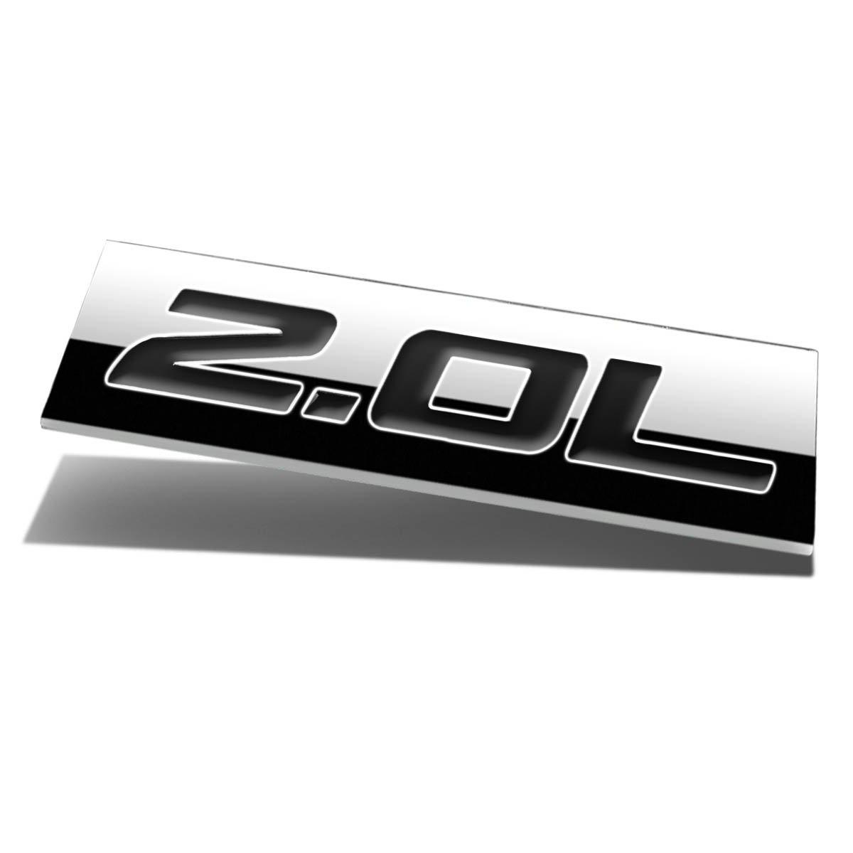 Chrome Finish Metal Emblem 2.0L Badge (Black Letter)