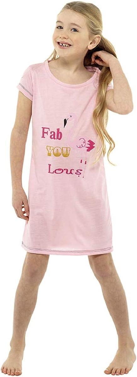Follow That Dream Girls Jersey Divertente Stampa Manica Corta Nightdress//Nightwear Flamingo ~ 7-13 Anni