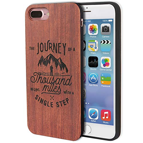 (Engraved Wood Cell Phone 8 Plus Case Natural Real Wood Phone 7 Plus Case-Journey Travel Quote)