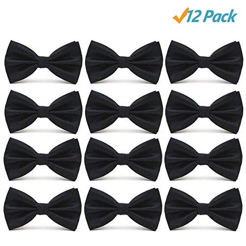 12pcs Men's Pre-tied Adjustable Formal Premium Bow Tie Tuxedo Solid Bowtie by Avant Men (12-Pack-Black)