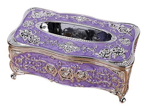 Gentle Meow Luxury European Tissue Box, Household KTV Coffee Table Napkin Box, Silver Purple by Gentle Meow