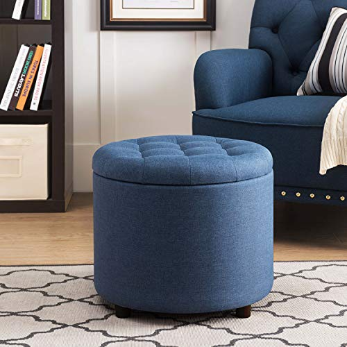 Ottoman Tray Round Storage (Sunjoy 120209002-N SJ Collection Ottoman, One Size, Navy)