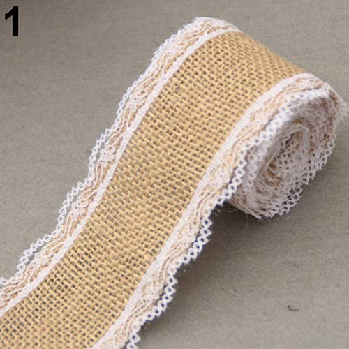 liyhh 2M Vintage Lace Edged Burlap Ribbon Rustic Wedding Party Decorations DIY Handmade Crafts Accessory 1