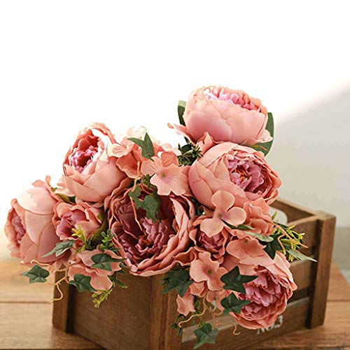 (Efavormart 2 Bushes Blush/Dusty Rose Peony, Rose Bud and Hydrangea Artificial Silk Flower Bouquets for Wedding Home Floral Decor)