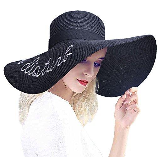 PardoBed Womens Embroidery Floppy Bucket Summer Kentucky Derby Sun Hat Lettering Straw Hat, Black, One Size