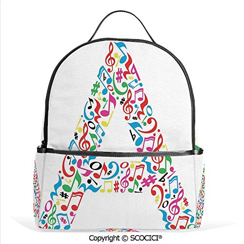 All Over Printed Backpack Graphic Composition with Do Re Mi Art Symbols Letter A Lively Colors Inspirational,Multicolor,For Girls Cute Elementary School Bookbags