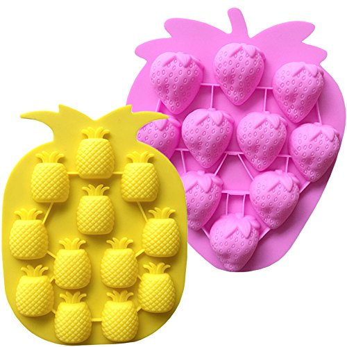 (IHUIXINHE Food Grade Silicone Mold, Non-stick Ice Cube Mold, Jelly, Biscuits, Chocolate, Candy, Cupcake Baking Mould, Muffin pan (Fruit))