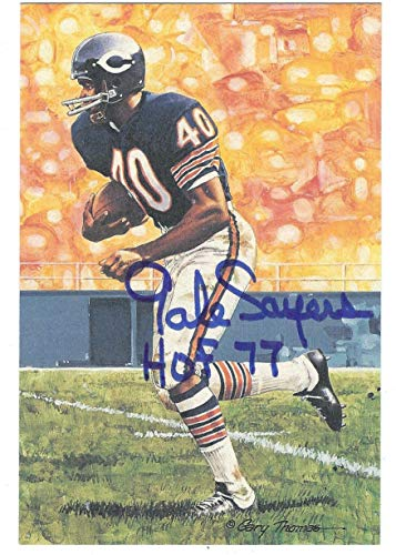 Autographed Gale Sayers Chicago Bears Goal Line Art Card