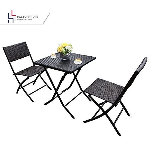 H&L Patio Resin Rattan Steel Folding Bistro Set, Parma Style, All Weather Resistant Resin Wicker, 3 PCS Set of Foldable Table and Chairs, Color Espresso Brown, 1 Year Warranty (Up Set Table Breakfast)