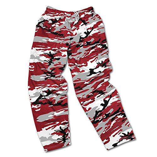 Camo Medium Mens Pants - Zubaz NCAA Arkansas Razorbacks Men's Camo Print Team Logo Casual Active Pants, Medium, Cardinal Red/Gray/Black
