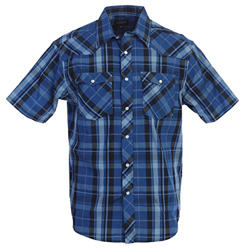 Gioberti Men's Plaid Western Shirt, Blue/Navy Striped, Medium (Down Mens Striped Button Shirt)