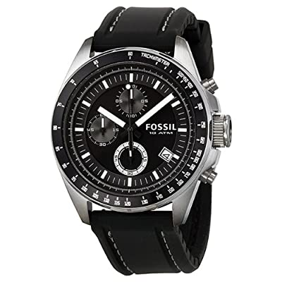 Fossil Men's CH2573 Black silicon Strap Black Analog Dial Chronograph Watch from Fossil