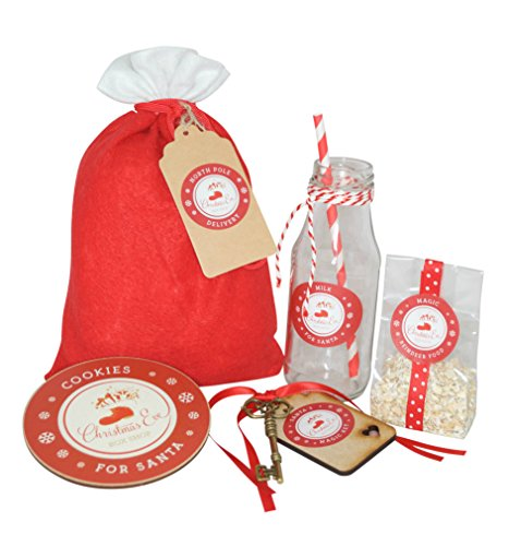 Christmas Eve Gift Bag - filled with Magic Reindeer Food, Magic Key, Christmas Cookie Coaster and Milk Bottle Christmas Food