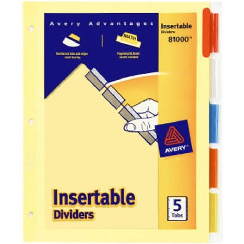 - Avery Insertable Dividers, Buff Paper, 5 Multicolor Tabs, 1 Set (81000)