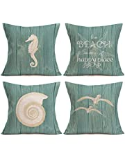 Asamour 4 Pack Throw Pillow Covers Vintage Wood Ocean Beach Decorative Cushion Cover Sea Horse Sea Gull Conch Design for Home Sofa Pillowcase 18''x18'',Cotton Linen,Green,The Beach is My Happy Place