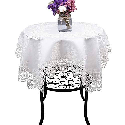 (Cream White Small Square Lace Tablecloth Wedding Party Home Kitchen)