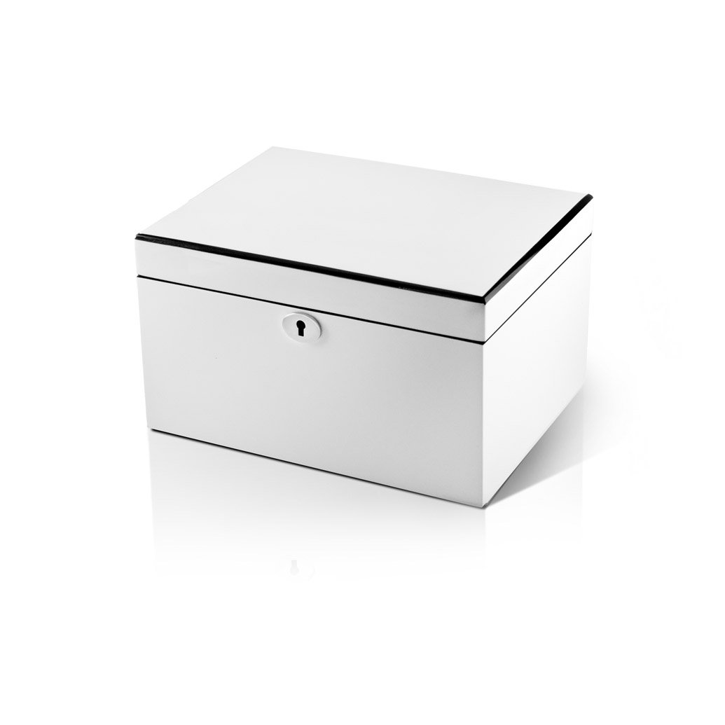 Ultra Sleek Pearl White Lacquer 18 Note Music Jewelry Box SUPER DEAL SAVE 72% - Rock of Ages - Christian Version by MusicBoxAttic