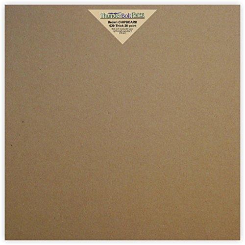 Scrapbook Album 12x12 Chipboard (50 Sheets Chipboard 20pt (point) 12 X 12 Inches Light Weight Scrapbook Size .020 Caliper Thick Cardboard Craft|Ship Brown Kraft Paper Board)