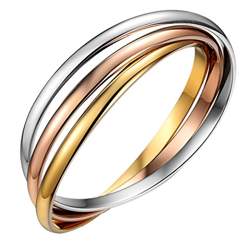 Oidea Womens Stainless Steel Tri-Colour Interlocking Bangle Bracelets for Birthday Gifts,7.8 Inch, Hypoallergenic ()