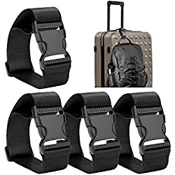 Frienda 4 Pieces Add a Bag Luggage Strap Adjustable Suitcase Belt Straps Accessories for Travel and Trip (Black)